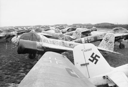 Junkers Ju 88 night fighters awaiting scrapping at Grove airfield in Denmark, 2 August 1945.