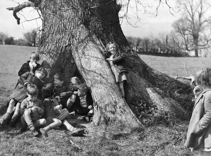 A group of evacuees on a nature walk near Dartington Hall, Totnes, Devon in 1941.
