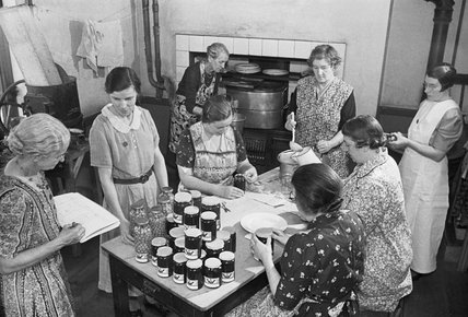 Members of the Women's Institute at a jam-making centre on the east coast of England during 1940.