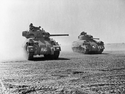 Sherman tanks of 9th Queen's Royal Lancers during the Battle of El Alamein, 5 November 1942.