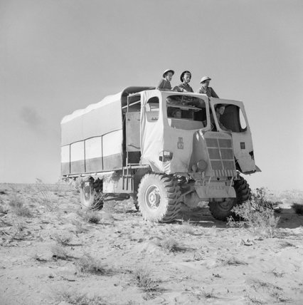A 6-pdr anti-tank gun portee, camouflaged to look like an ordinary lorry, North Africa, 27 October 1942.