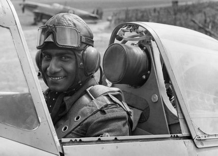 Flying Officer P C Ramachandran AFC, of the Indian Air Force, in the cockpit of a Spitfire prior to a test flight in 1942.
