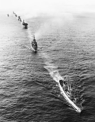 Ships of the Royal Navy Task Force despatched to the Falklands in 1982: HMS ANDROMEDA leads HMS BRISTOL and HMS INVINCIBLE.