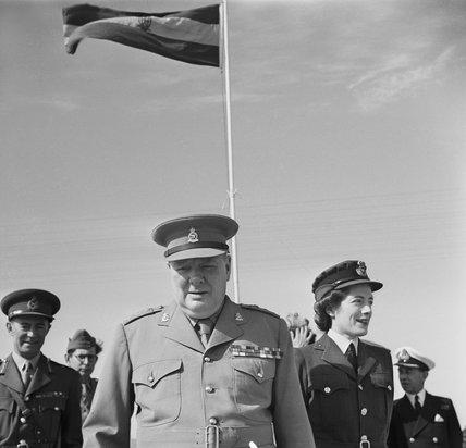 Winston Churchill with his daughter Sarah, on a visit to his old regiment, the 4th Queen's Own Hussars, in Egypt, 5 December 1943.