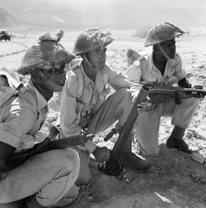 A 2-inch mortar team of 1st Battalion, The Caribbean Regiment in Egypt, 21 August 1945.