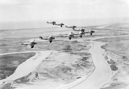 Hawker Hardy aircraft of No. 30 Squadron based at RAF Dhibban, flying in formation over the River Euphrates, 1937.