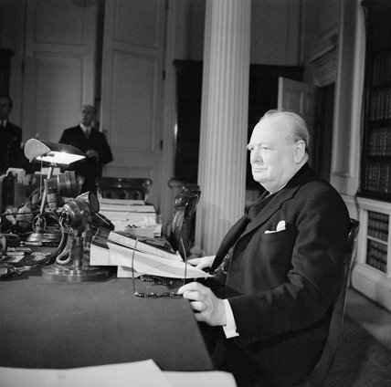 Winston Churchill makes his VE Day radio broadcast from 10 Downing Street, 8 May 1945.