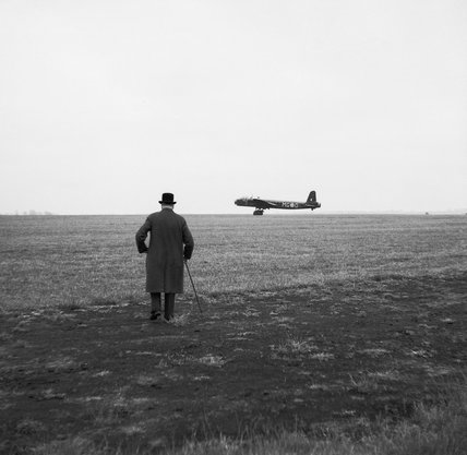 Winston Churchill watching a Short Stirling bomber of No. 7 Squadron taking off, 6 June 1941.