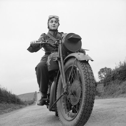 An Auxiliary Territorial Service (ATS) motorcycle despatch rider in Northern Ireland, 26 September 1941.