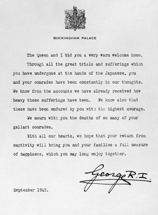 The letter from King George VI welcoming returning prisoners of war from the Far East, September 1945.