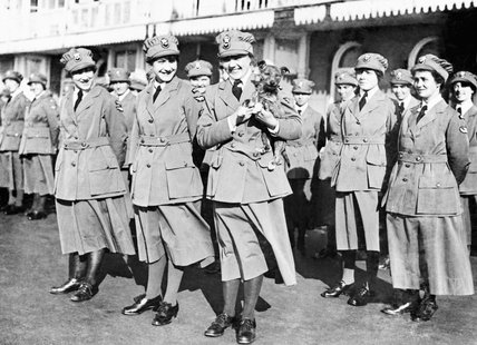 Members of the Women's Royal Air Force (WRAF) on parade in 1918.