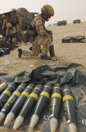 105mm shells being prepared by 'G' Battery (Fighting Mercer's Troop), 7 Para, Royal Horse Artillery in Kuwait, during preparations for operations in Iraq, 21 February 2003.