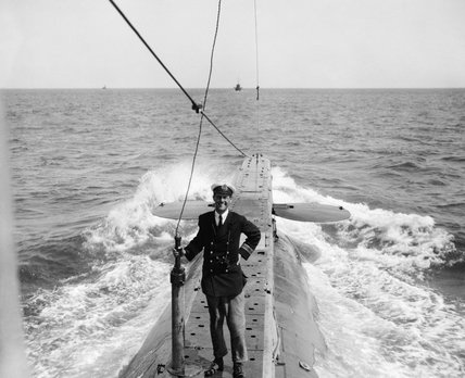 Lieutenant Commander Edward Courtney Boyle on board Submarine E14, which he commanded at the Dardanelles when awarded the Victoria Cross for action on 27 April 1915