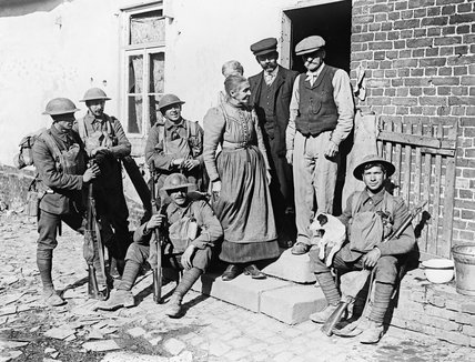 French civilians in the village of Brancourt le Grand after its liberation by Allied troops, 9 October 1918