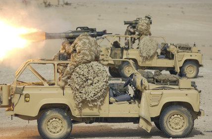 Javelin anti-tank weapons being fired from Landrovers in Kuwait, as the troops prepare for operations in Iraq, 2003.