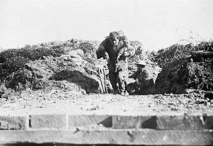 Bringing in a wounded man of 29th Division after the assault at Beaumont-Hamel on the first day of the Battle of the Somme, 1 July 1916.