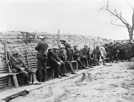 New Zealanders of the 9th (Wellington East Coast Rifles) Regiment holding a well constructed breastwork near Fleurbaix during June 1916.