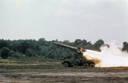 An Honest John surface-to-surface missile is launched in Germany by 24 Missile Regiment, Royal Artillery, August 1970.