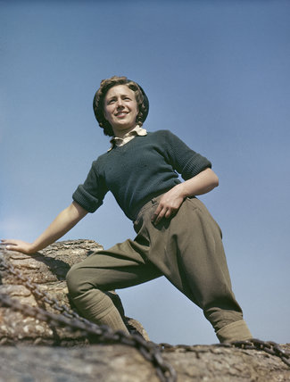 Land Army girl Doreen Bacchus at the Women's Timber Corps training camp at Culford in Suffolk.