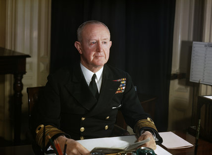 Admiral of the Fleet Sir Andrew Cunningham, the First Sea Lord and Chief of the Naval Staff, at his desk at the Admiralty in London, October 1944.