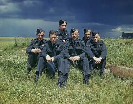 Flight Lieutenant Joe McCarthy (fourth from left) and his crew of No. 617 Squadron (The Dambusters) at RAF Scampton, 22 July 1943.