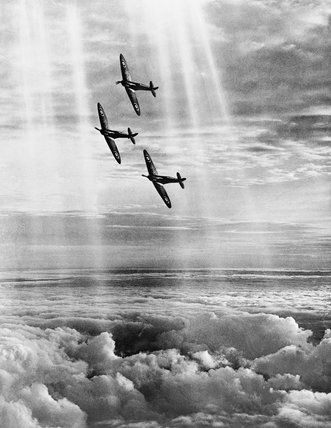 Three Supermarine Spitfire Mk.I aircraft of 19 Squadron.