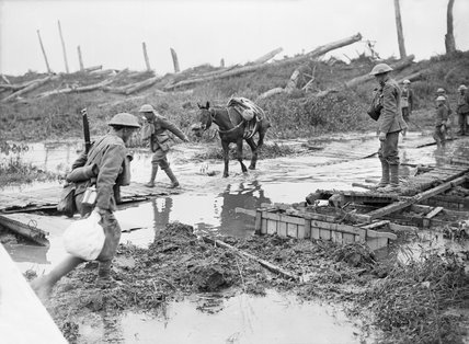 The Battle of Pilckem Ridge: Crossing the Yser Canal at Boesinghe, 31st July 1917.
