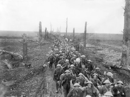 Men of The Sherwood Foresters marching along the Amiens-St. QuentinRoad, near Brie, March 1917.