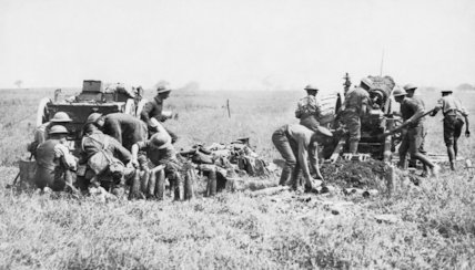Canadian 60 pounder guns in action during the Battle of Amiens, August 1918.