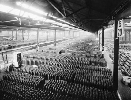 Shells awaiting filling with explosives in a store of the National Shell Filling Factory at Chilwell, Nottinghamshire, 21 November 1916.
