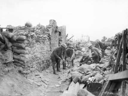 New Zealand troops of the 9th (Wellington East Coast Rifles) Regiment repairing trenches near Fleurbaix, June 1916.