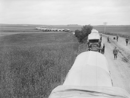 Convoy on a road near Albert, Somme, July 1916.