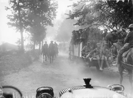 British troops moving up to the forward area, passing through Becourt Wood, September 1916.