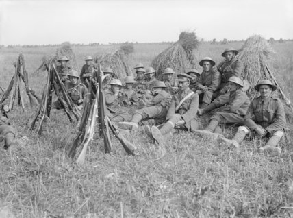 Troops of the Worcestershire Regiment, resting in a cornfield near Lavieville, Somme, September 1916.