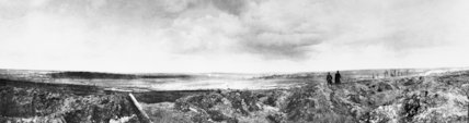 Panoramic view of the battlefield at Mametz, showing the ruined village of Fricourt in the distance, September 1916.