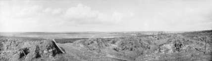 Panoramic view of the battlefield at Mametz, showing the ruined village of Fricourt in the distance; September 1916.