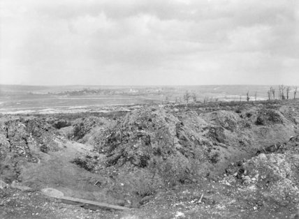 View of the battlefield at Mametz, showing the ruined village of Fricourt in the distance, September 1916.