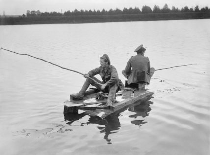 Two British soldiers fishing near Aveluy, Somme, 7 August 1916.