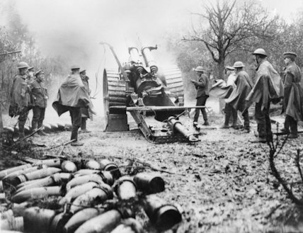 An 8 inch Mk.V Howitzer in action at Aveluy, Somme, September 1916.