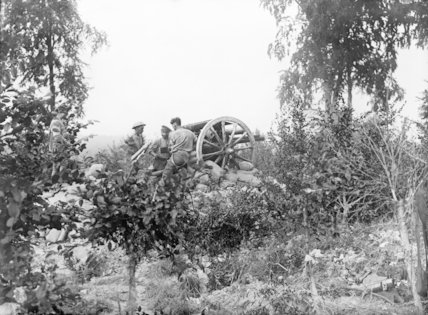18 pounder gun in action; Authuille, Somme, September 1916.