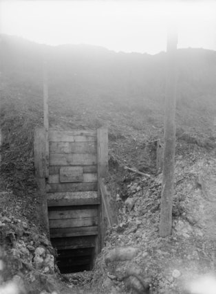 Entrance to a German dug-out at Hamel, Somme, October, 1916.