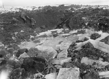 Ice broken up by shell fire on the battlefield at Beaumont Hamel, Somme, December 1916.