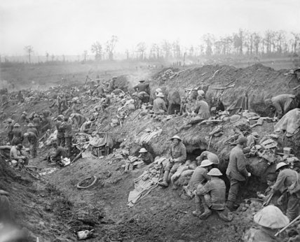 Troops outside their dug-outs in Bazentin-le-Petit, Somme, July 1916.