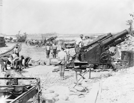 9.2 inch howitzer (Mark VI) battery of the Royal Australian Artillery in action. Fricourt, Somme, August 1916.