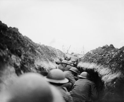A raiding party of the 10th Battalion, Cameronians (Scottish Rifles) waiting for the signal to go. John Warwick Brooke, the official photographer, followed them in the sap, into which a shell fell short killing seven men. Near Arras, 24 March 1917.
