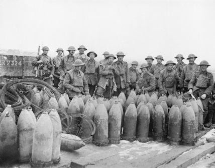 Working Party and the shells, wire and other stores they have been unloading. Near Ypres, 7 January 1918.