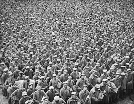 A Crowd of German risoners taken by the Fourth Army in the Battle of Amiens, 27 August 1918.