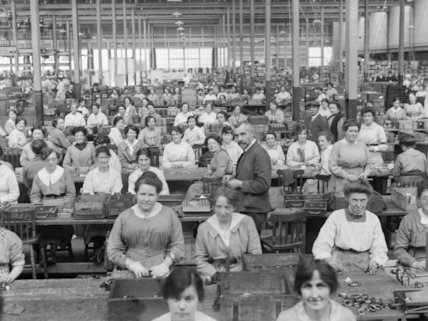 Women workers gauging fuses in the fuse shop, Royal Arsenal, Woolwich, May 1918.