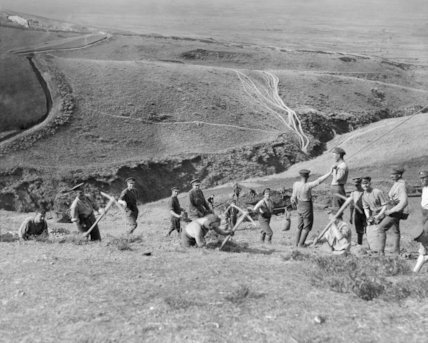 British troops engaged in the digging of trenches that would form part of the 'Bridcage' line in the hills north of Salonika, March 1916.