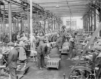 Interior of the National Shell Factory at Parkgate Street, Dublin, during the First World War.